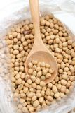 Soy beans. Is in the wooden spoone Stock Image