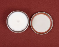 Soy candle in glass jar Stock Images
