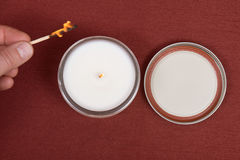 Soy candle in glass jar Royalty Free Stock Photo