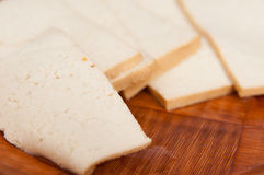 Soy cheese slices Stock Photos