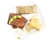 Soy cousine. Variety of soy products including tofu, tempeh and sprouts Royalty Free Stock Photos