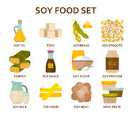 Soy food flat icons set Royalty Free Stock Photography