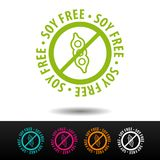 Soy free badge, logo, icon. Flat illustration on white background. Can be used business company. Soy free badge, logo, icon. Flat illustration on white stock illustration