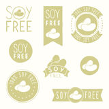 Soy free badges. Hand drawn vector illustration Royalty Free Stock Photos
