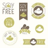 Soy free hand drawn labels. Vector EPS 10 illustration Royalty Free Stock Photos