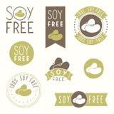 Soy free hand drawn labels. Vector EPS 10 illustration stock illustration
