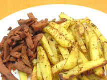Soy Geschnetzeltes and french fries Royalty Free Stock Images