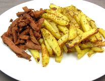 Soy Geschnetzeltes and french fries Royalty Free Stock Image