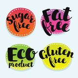 Soy, gluten, dairy, sugar, gmo, fat, egg, nut, wheat free. Set of badges. Vector set of bages for eco, healthy, naturlal, dien food. Colorful sticker with hand Vector Illustration