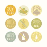 Soy, gluten, lactose free signs. vector illustration