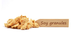 Soy granules at plate Stock Images