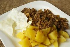 Soy granules potatoes recipe Stock Photography