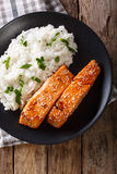 Soy-Honey Glazed�salmon and camolino rice close-up. Vertical top Stock Images