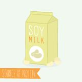 Soy milk in a carton pack. Royalty Free Stock Image