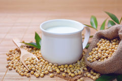 Soy milk in a cup. Stock Photos