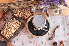Soy milk mix black sesame with soybean seed and black sesame see Stock Photos