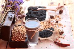 Soy milk mix black sesame with soybean seed and black sesame see Royalty Free Stock Image