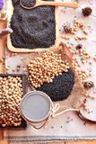 Soy milk mix black sesame with soybean seed and black sesame see Stock Images