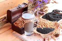 Soy milk mix black sesame with soybean seed and black sesame see Stock Photography