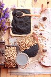 Soy milk mix black sesame with soybean seed and black sesame see Royalty Free Stock Photography