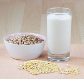 Soy milk with raw soybean Stock Photos