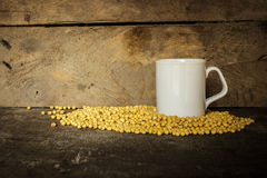 Soy Milk with Seeds on wooden background Royalty Free Stock Photography