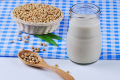 Soy milk and soy beans Royalty Free Stock Photos
