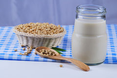 Soy milk and soy beans Stock Images