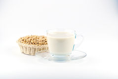 Soy milk with soy beans Royalty Free Stock Image