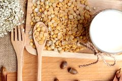 Soy milk with soya beans Royalty Free Stock Photos