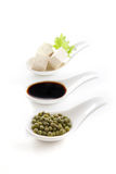 Soy products. Traditional soy products, soybean,soy sauce and tofu Stock Image