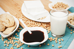 Soy products. Tofu, sauce and other healthy soy products Royalty Free Stock Photography