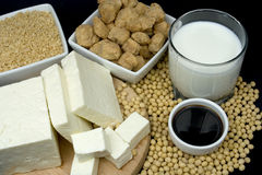 Soy products. Soy sauce, tofu, soy milk and meat alternative on black background Royalty Free Stock Images