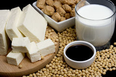 Soy products. Soy sauce, tofu and other soy products Royalty Free Stock Images