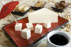 Soy products. Different soy products: tofu cheese, smoked tofu, fried tofu, soy sauce, soy beans. Focus on the tofu at the front Stock Photography