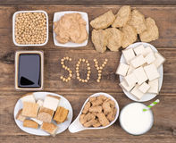 Soy products on wooden background. Top view Stock Image