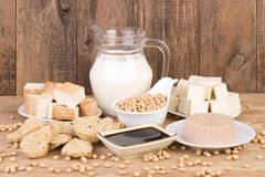 Soy products on wooden background. Various soy products on wooden table with wooden background Stock Image