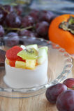 Soy Pudding with Fresh Fruits Royalty Free Stock Images