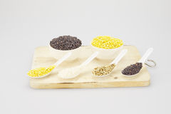 Soy rice sunflower seed and black rice in spoon Royalty Free Stock Images