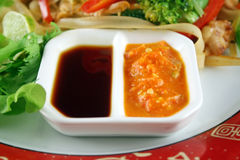 Soy And Sambal Olek Sauces Royalty Free Stock Images