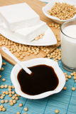 Soy sauce. With other products of soybean Stock Photography