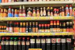 Soy sauce department in supermarket Stock Photo