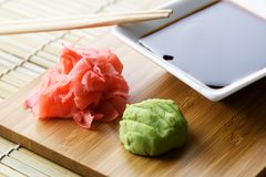 Soy sauce, ginger and wasabi closeup Stock Photo