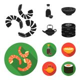 Soy sauce, noodles, kettle.rolls.Sushi set collection icons in black,flat style vector symbol stock illustration web. Soy sauce, noodles, kettle.rolls.Sushi set royalty free illustration