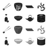 Soy sauce, noodles, kettle.rolls.Sushi set collection icons in black,monochrome style vector symbol stock illustration.  Royalty Free Stock Photography