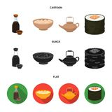 Soy sauce, noodles, kettle.rolls.Sushi set collection icons in cartoon,black,flat style vector symbol stock illustration.  vector illustration