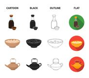 Soy sauce, noodles, kettle.rolls.Sushi set collection icons in cartoon,black,outline,flat style vector symbol stock. Illustration vector illustration