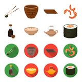 Soy sauce, noodles, kettle.rolls.Sushi set collection icons in cartoon,flat style vector symbol stock illustration web. Soy sauce, noodles, kettle.rolls.Sushi vector illustration