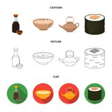 Soy sauce, noodles, kettle.rolls.Sushi set collection icons in cartoon,outline,flat style vector symbol stock. Illustration royalty free illustration