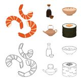 Soy sauce, noodles, kettle.rolls.Sushi set collection icons in cartoon,outline style vector symbol stock illustration.  stock illustration
